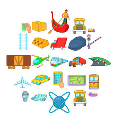 freight transportation icons set cartoon style vector image