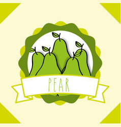 fresh natural fruit organic emblem design image vector image