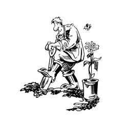 gardener working cartoon vector image