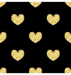Golden glitter hearts sparkles seamless pattern vector image