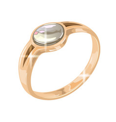 Golden round diamond solitaire ring in traditional vector