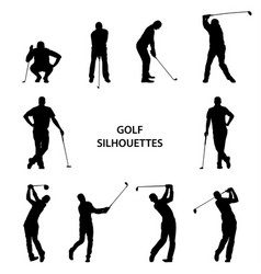 Golf different silhouettes on white background vector
