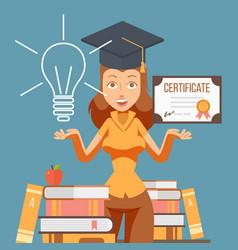Graduate woman cartoon character vector