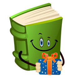 Green book holding a present on white background vector