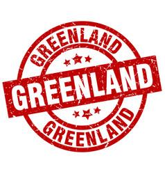 Greenland red round grunge stamp vector