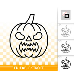 halloween thin line icon pumpkin face sign vector image