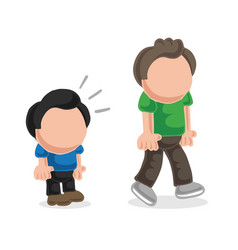 Hand-drawn cartoon of short man look and envy vector