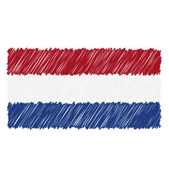 hand drawn national flag of netherlands isolated vector image