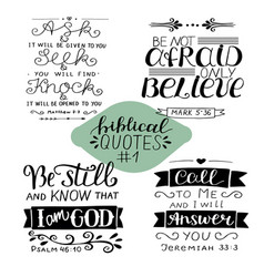 hand lettering collection number 1 with 4 bible vector image