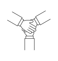 Hands together line icon teamwork sign on white vector