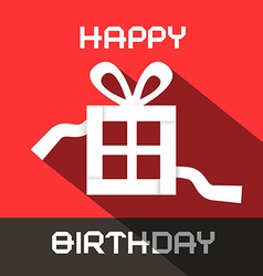 Happy Birthday Card with Paper Gift Box vector image