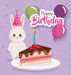 happy birthday card with rabbit vector image