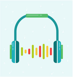 Headphones flat colorful with sound wave vector