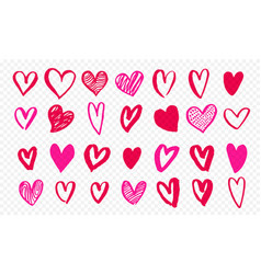 hearts icons hand drawn for valentines day save vector image