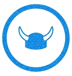 Horned Helmet Rounded Icon Rubber Stamp vector image