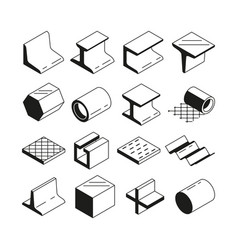 Icons set in monochrome metallurgy production vector