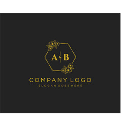 Initial ab letters decorative luxury wedding logo vector
