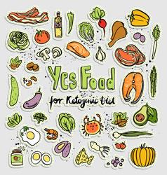 keto-friendly food stickers sketch vector image