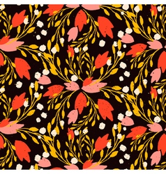 Khokhloma inspired organic floral pattern vector