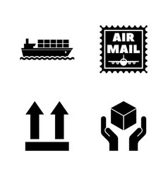 logistics delivery shipping simple related icons vector image