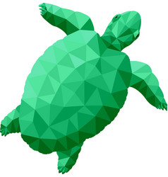 Low poly with green stylized turtle vector