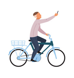 Man on bike with smartphone transport courier vector