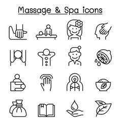 Massage spa icon set in thin line style vector