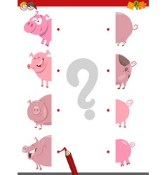 Match the halves of pigs vector