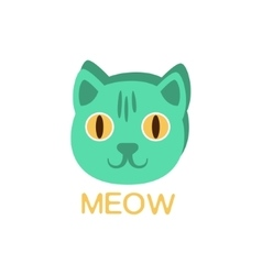 Meow And Cat Face Word And Corresponding vector