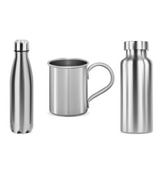 metal bottle tumbler cup stainless thermo flask vector image