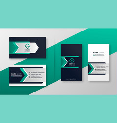 Modern turquoise business card template set vector
