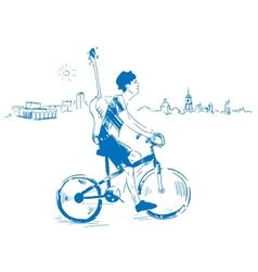 Musician with guitar rides a bicycle vector