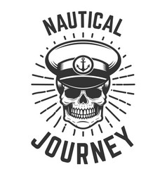 Nautical journey skull in boat captain hat design vector