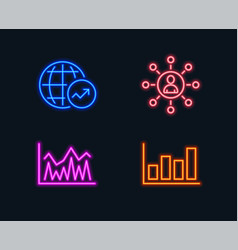 Networking investment and world statistics icons vector