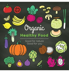 organic food doodle on chalkboard background vector image