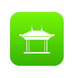 Pagoda icon digital green vector