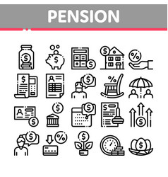 Pension retirement collection icons set vector