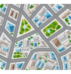 Plan top view for the big city with streets roofs vector
