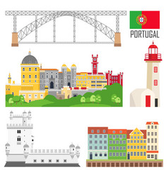 portugal set landmark icons in flat style vector image