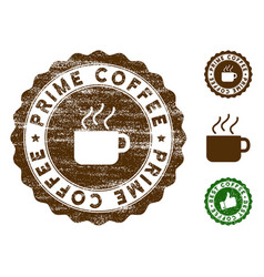 Prime coffee stamp seal with distress style vector