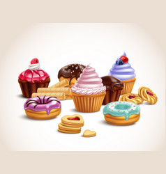 Realistic sweet treats composition vector