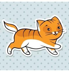 Red cute funny cat run vector image