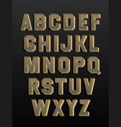 retro alphabet with 3d and shadows vintage style vector image
