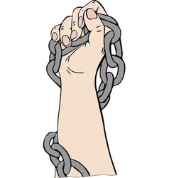 Right human hand is wrapped in a metal chain and vector