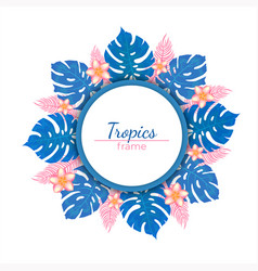 round frame tropical plants and flowers vector image