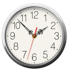 Round wall clock with glossy metallic body vector