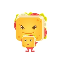 Sandwich Character With His Little Copy vector image