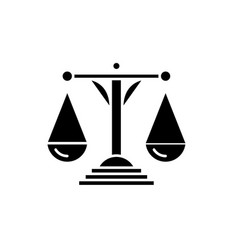 scales of justice black icon sign on vector image