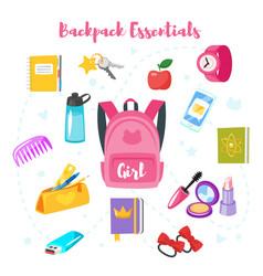 School backpack essentials vector