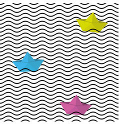 seamless wavy line pattern with origami boats vector image